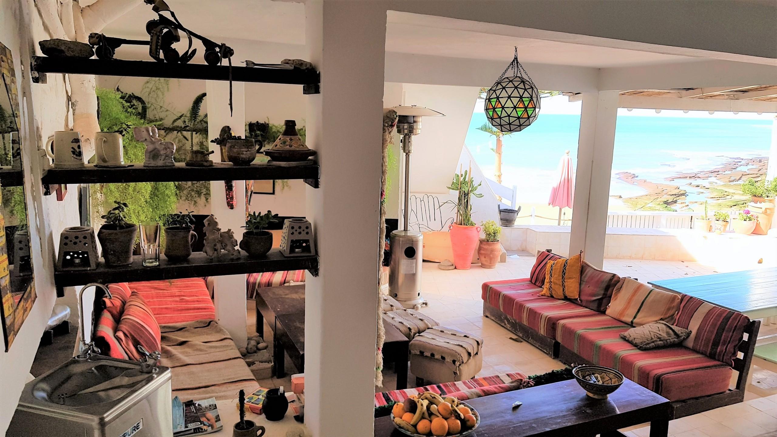 sitting area - taghazout villa - surf maroc